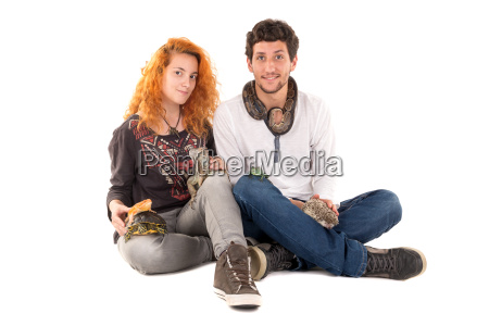 young couple with pets