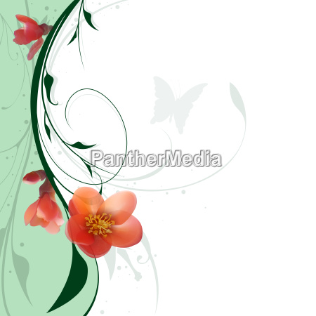 floral background and red flowers