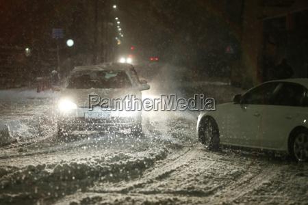 snefald pa gaderne i velika gorica