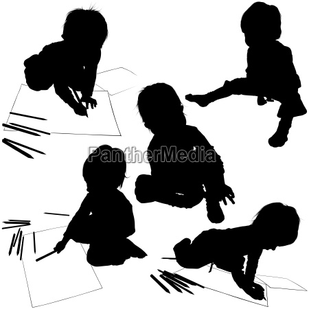 children with pencils silhouettes