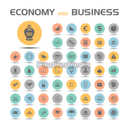 economy and business icons on colored