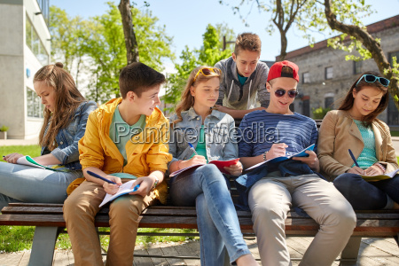 group of students with notebooks at
