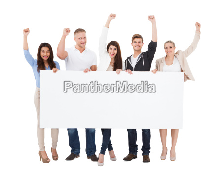 successful people holding blank billboard