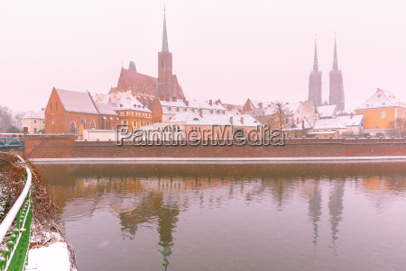 cathedral island in winter day wroclaw