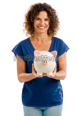 kvinde pengeinstitut bank portraet besparelser billede