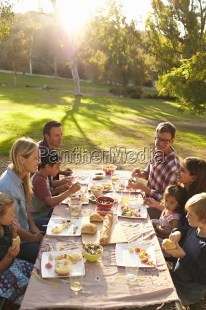 to familier har picnic ved et