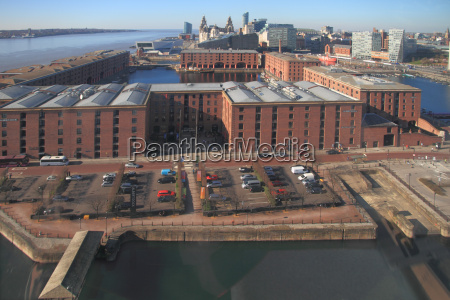 albert dock and mersey skyline from