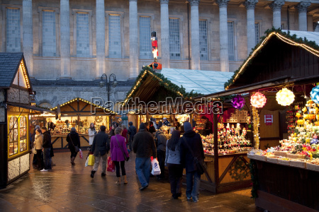 christmas market stalls and town hall