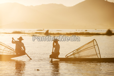 traditional fisherman on inle lake shan