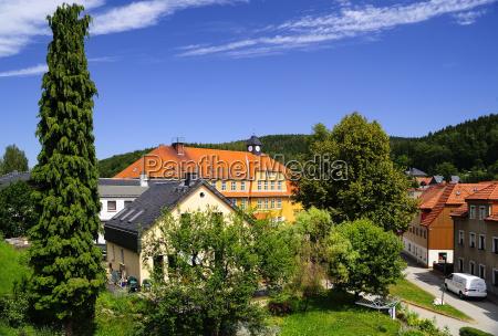 germany saxony schmiedeberg townscape with school