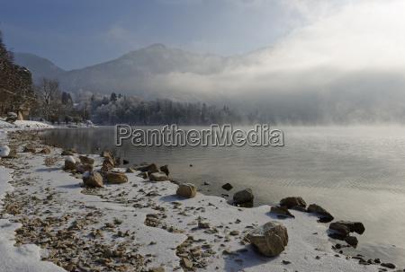 germany bavaria fog at lake kochel