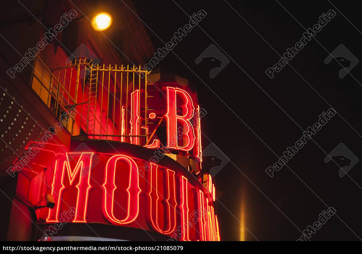 frankrig, paris, lightes, moulin, rouge, by, night - 21085079