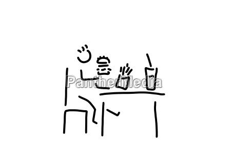 fast food barn siddende pa bordet