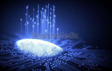 finger spionere futuristisk verifikation digital tryk