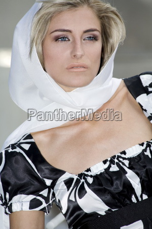 young woman wearing head cloth portrait