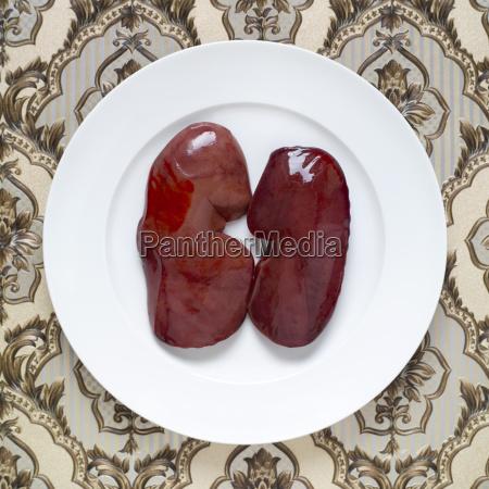raw pork liver elevated view
