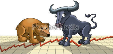 illustrationbull og bear figurer pa grafen