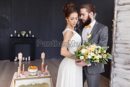 bruden med en buket i handen
