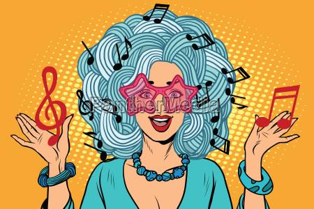 ung, pige, musik, noter, i, stedet - 21364709