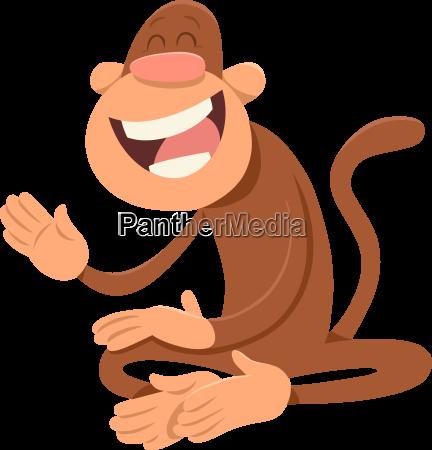 happy monkey animal character