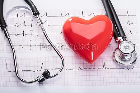 kardiogramm mit herz und stethoskop