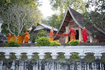 laos luang prabang temple monks