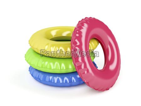 svom ringe med forskellige farver