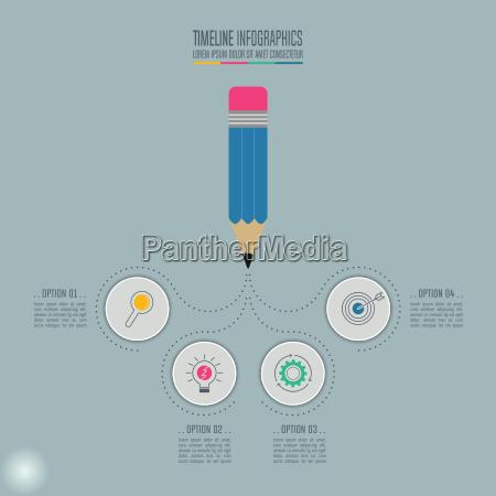 uddannelse infographics skabelon 4 trin mulighed