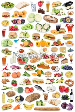 indsamling collage mad og drikke sund