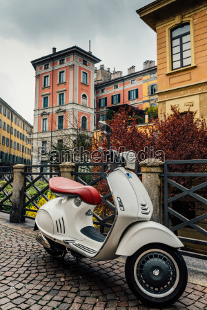 italian vespa with typical milan style
