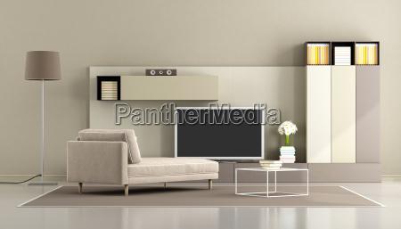 moderne stue med tv enhed