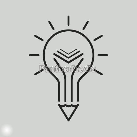 kreativ uddannelse ikon lyspaere blyant og