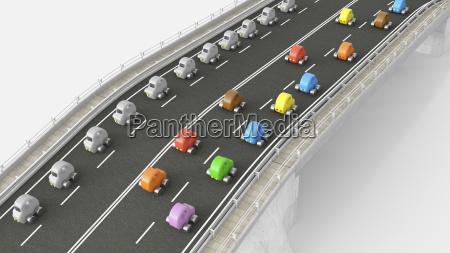 legetojsbil trafik pa motorvejen 3d rendering