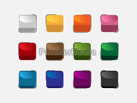 gruppe af firkantede knapper i forskellige