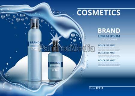 cosmetic realistic package ads template body