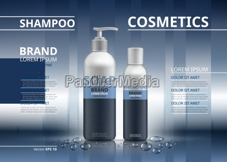 shampoo and soap realistic bottles mockup