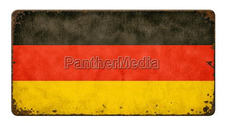 gammel rusten metal skilt flag