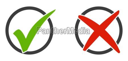 2 ikoner tick mark og x