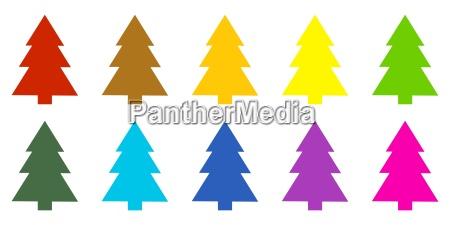 10 farverige grantraeer