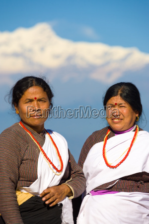 female villagers traditional ethnic clothes nepal