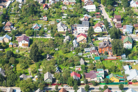 above view of village in suburb