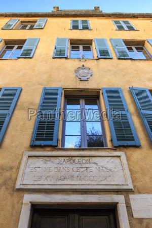 maison bonaparte yellow with blue shutters