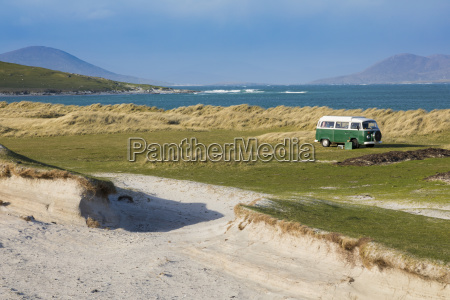 white sands with volkswagen camper van