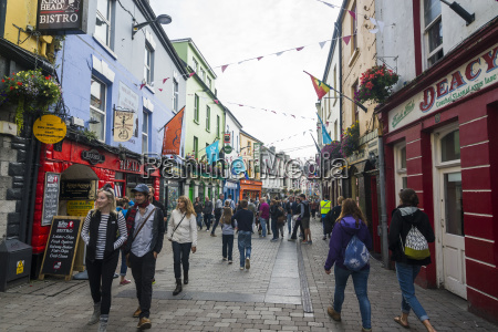 busy pedestrian zone of galway county
