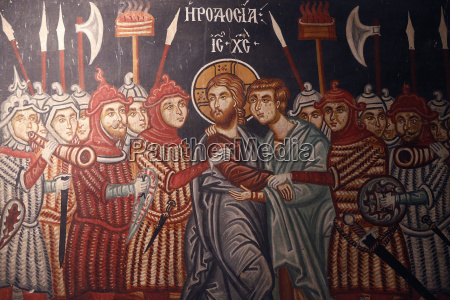 fresco of jesus christ arrested church