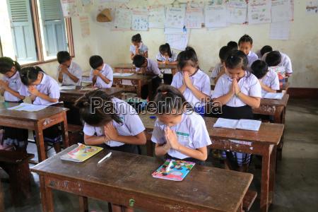 schoolchildren in classroom elementary school vieng