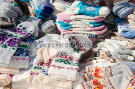 variety woolen socks on christmas market