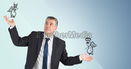 man between good and bad conscience
