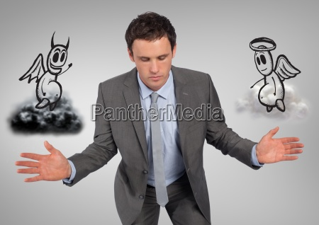 businessman between good and bad conscience