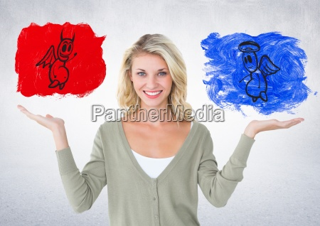 portrait of smiling woman between good